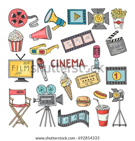Movie entertainment icon set. Pictures in hand drawn style. Tv and cinema color hand drawn equipment illustration