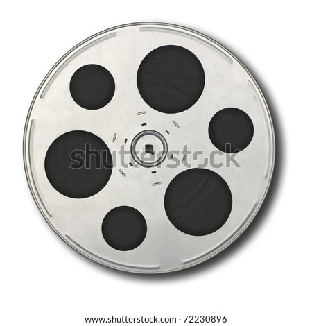 Movie film spool; isolated on white ground