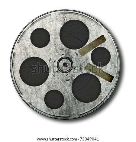 Movie film spool; very old and well-used; isolated on white ground; two adhesive labels suitable for overprinting