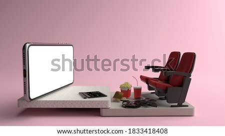 Movie from home. Smartphone white screen with objects in front of, Chair watching movies, popcorn, film rolls and movie tickets. Concepts, Isolated on pink background, illustration,3D rendering.