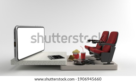 Movie from home. Smartphone white screen with objects in front of, Chair watching movies, popcorn, film rolls and movie tickets. Concepts, Isolated on White background, illustration, 3D rendering.
