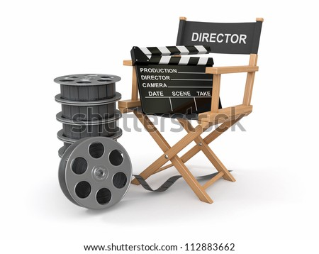 Movie industry. Producer chair, ���±lapperboard and film reel. 3d