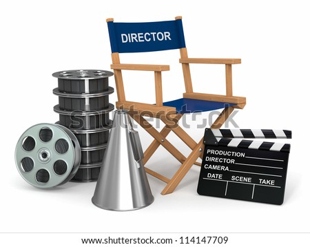 Movie industry. Producer chair, ���±lapperboard and film reels. 3d