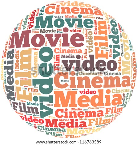 Movie info-text graphics and arrangement concept on white background (word cloud)