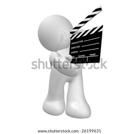 Movie maker icon figure holding a scene clap board