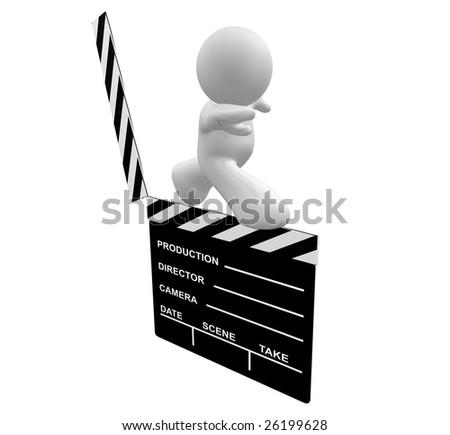 Movie maker icon figure standing on scene clap board