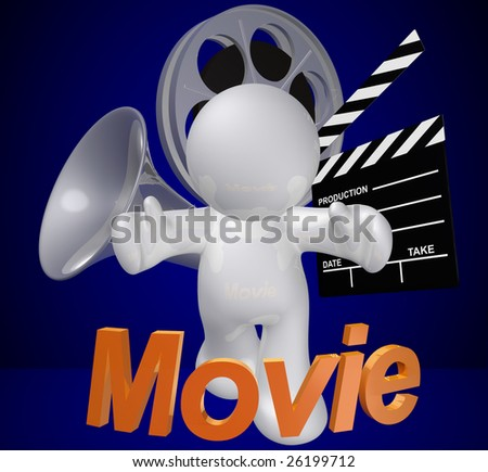 Movie maker or film director objects and icon figure