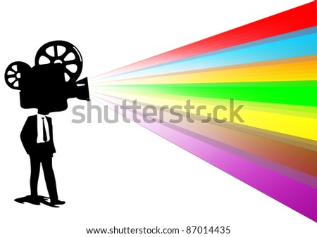 movie man with colorful lighting