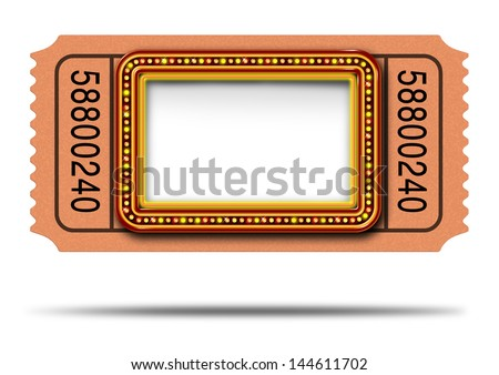Movie marquee ticket with blank copy space as a Hollywood theater and cinema concept with a glowing group of lights on a sign frame as a billboard icon for communicating an important show.