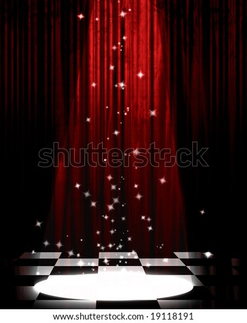 Movie or theater curtain with a bright spotlight