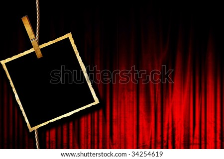 Movie or theater curtain with old photograph