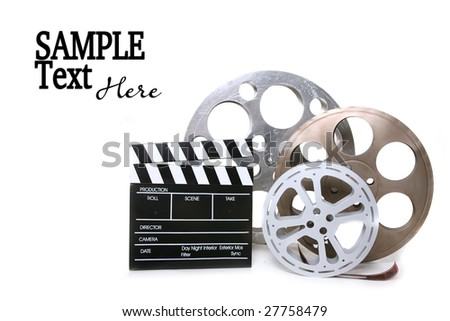 Movie Production Film Canisters With Directors Clapboard on White Background and Copy Space