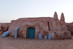 Movie scenery for movie Star Wars of planet Tatooine in Sahara desert