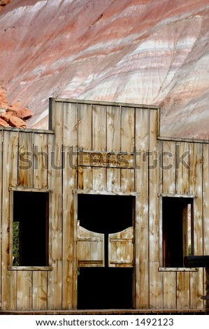 Movie Set facade of old west saloon with swinging double doors