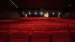 Movie Theater Seats. Close-up photo of rows of red seats in the cinema. Event concert