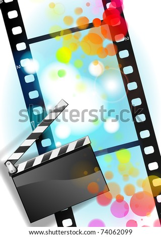 movies film and Clapper board background With easy append sample text.