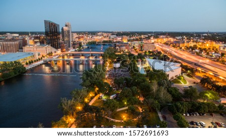 Photo of  Movies on the Grand River in Grand Rapids, Michigan at night