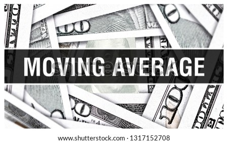 Moving Average Closeup Concept. American Dollars Cash Money,3D rendering. Moving Average at Dollar Banknote. Financial USA money banknote and commercial money investment profit concept graph