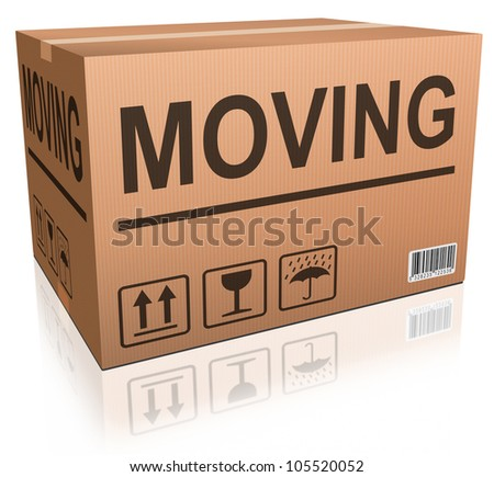 moving box in cardboard with text relocation package