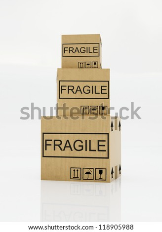 moving box with a fragile sticker on a white background