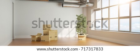 Moving boxes in apartment as recolation or moving company concept (3D Rendering)