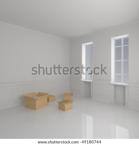 Moving Boxes in Home - 3d illustration