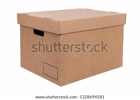 Moving boxes on white background. Real estate concept.