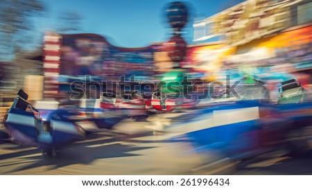 Moving carousel break dance, theme park, Budapest, Hungary Stock fotó ©