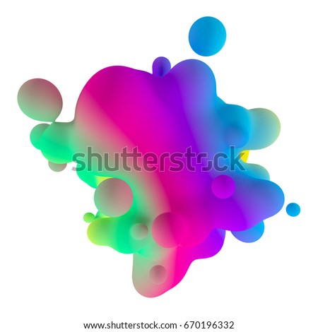 Moving colorful liquid of abstract background. 3d render #670196332