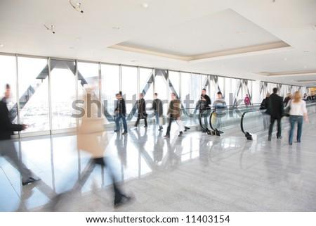 moving crowd. motion blur
