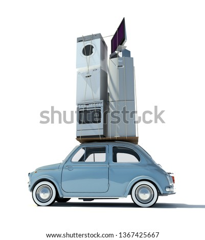 Moving day, 3D rendering of small car carrying home appliances
