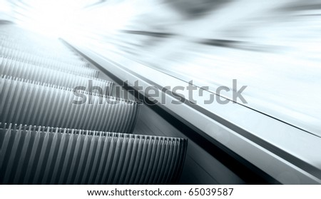 Moving escalator on the railway station