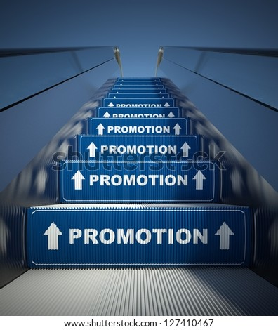 Moving escalator stairs to promotion, conception