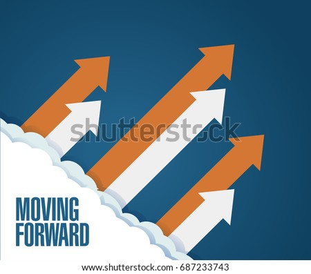 moving forward concept. arrows moving up in the sky. illustration over a blue background