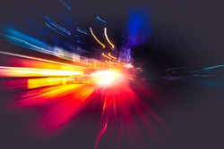 Moving forward motion blur background with light trails