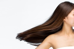 Moving hair on white background.