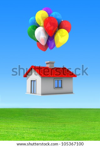 Moving house with lots of colorful balloons flying on a green lawn.