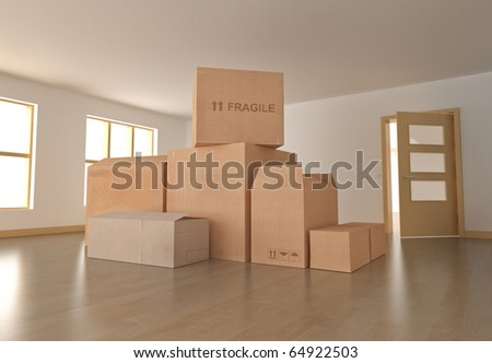 Moving in; empty room with boxes. 3D rendered image