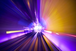 Moving on the railway  with different light pattern from long shutter speed create beautiful motion blur background