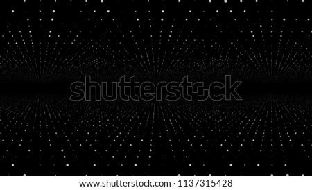 Moving through abstract fractal point matrix lattice. Moving infinite square twisted tunnel of shining flares. Fly into geometric point structure. Infinite space dynamic background. Glowing points