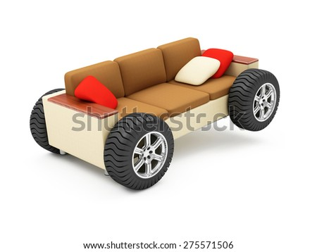 Moving to a New Residence or Furniture Transportation Concept. Modern Sofa on Wheels with Pillows isolated on white background