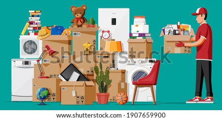Moving to new house. Family relocated to new home. Male mover, paper cardboard boxes with goods. Package for transportation. Electronics, clothes, home appliances, furniture. Flat illustration ストックフォト ©