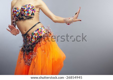 Moving torso of the woman dancing belly dance