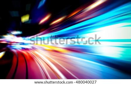 moving traffic light trails at night #480040027