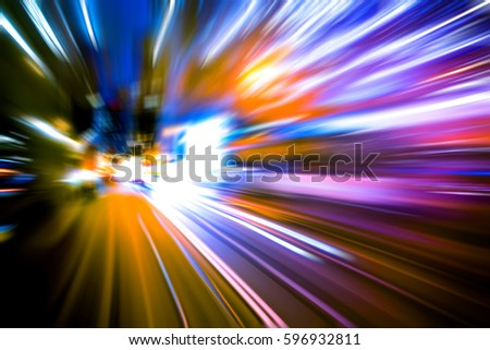 moving traffic light trails at night  #596932811