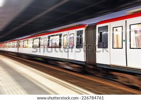 Moving train, motion blurred, Barcelona  Underground.Catalunia. Spain.