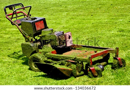 mowing machine after working hard