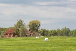 Mown grass in the field. The grass is packed in bales. Against the background of an old house