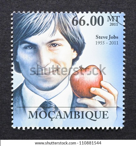 MOZAMBIQUE -Â?Â? CIRCA 2011: a postage stamp printed in Mozambique showing an image of Steve Jobs, circa 2011.