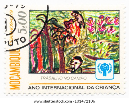 MOZAMBIQUE - CIRCA 1979: A stamp printed in Mozambique, shows a Farmers, series Children�¢??s Drawings and IYC Emblem, circa 1979